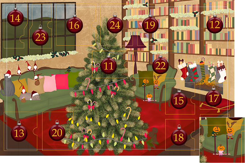 Drawing of a living room with brown wood flour, a red rug, big windows on the left and a chimney with shelves on the right wall with a big Christmas tree in the middle. All divided in 24 advent calendar sections. Section 10 is the drawing of pumpkin elves playing mischief on the sofa.
