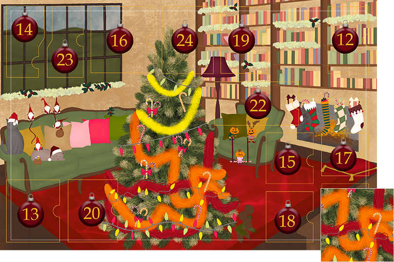Drawing of a living room with brown wood flour, a red rug, big windows on the left and a chimney with shelves on the right wall with a big Christmas tree in the middle. All divided in 24 advent calendar sections. Section 11 is the drawing of colourful red, orange and yellow garlands on the Christmas tree.