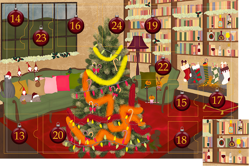 Drawing of a living room with brown wood flour, a red rug, big windows on the left and a chimney with shelves on the right wall with a big Christmas tree in the middle. All divided in 24 advent calendar sections. Section 12 is the drawing of bottles, cocktails, glasses and drinks on the shelves on the walls.