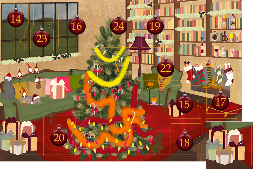 Drawing of a living room with brown wood flour, a red rug, big windows on the left and a chimney with shelves on the right wall with a big Christmas tree in the middle. All divided in 24 advent calendar sections. Section 13 is the drawing of Christmas gifts with nice bows and colourful wrapping paper next to the sofa.