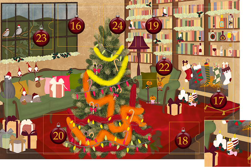 Drawing of a living room with brown wood flour, a red rug, big windows on the left and a chimney with shelves on the right wall with a big Christmas tree in the middle. All divided in 24 advent calendar sections. Section 15 is the drawing of lit Christmas candles with holly and pine cones next to the chimney.