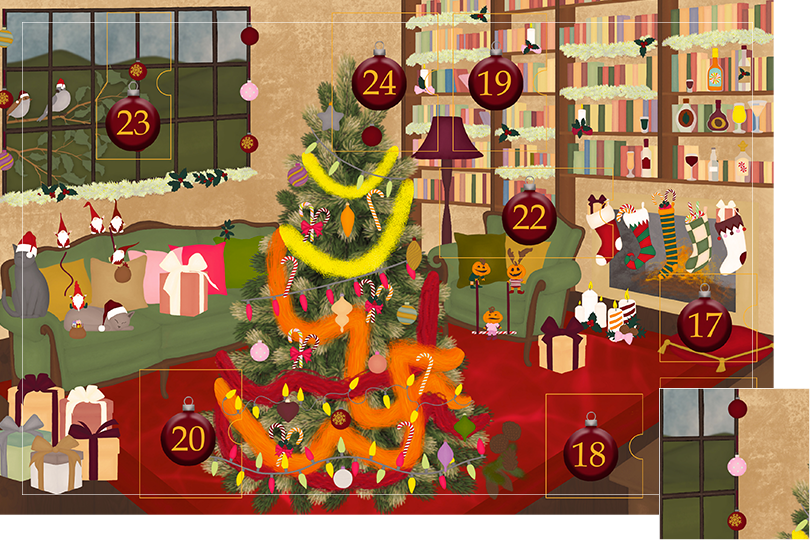 Drawing of a living room with brown wood flour, a red rug, big windows on the left and a chimney with shelves on the right wall with a big Christmas tree in the middle. All divided in 24 advent calendar sections. Section 16 is the drawing of Christmas ornaments spread in the scenery.