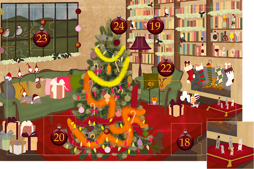 Drawing of a living room with brown wood flour, a red rug, big windows on the left and a chimney with shelves on the right wall with a big Christmas tree in the middle. All divided in 24 advent calendar sections. Section 17 is the drawing of a mice family on a red cushion next to the chimney.