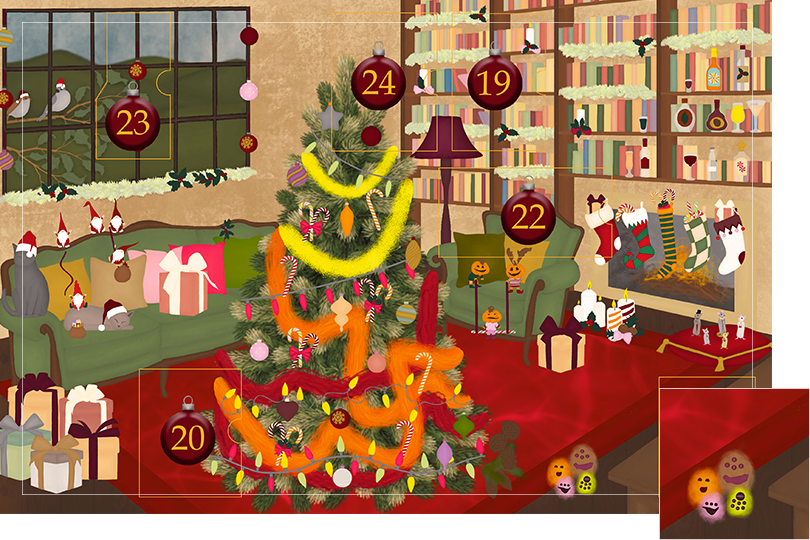 Drawing of a living room with brown wood flour, a red rug, big windows on the left and a chimney with shelves on the right wall with a big Christmas tree in the middle. All divided in 24 advent calendar sections. Section 18 is the drawing of little monsters on the floor.