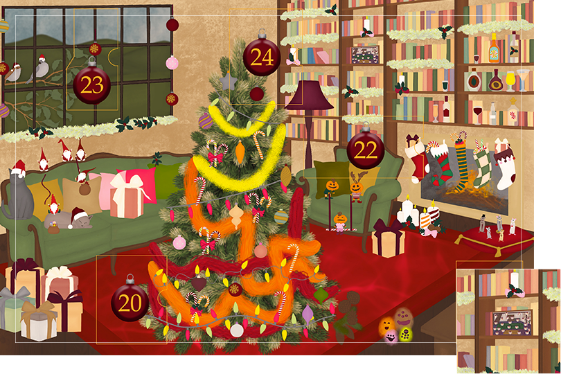 Drawing of a living room with brown wood flour, a red rug, big windows on the left and a chimney with shelves on the right wall with a big Christmas tree in the middle. All divided in 24 advent calendar sections. Section 19 is the drawing of last year's advent calendar put on the shelf.