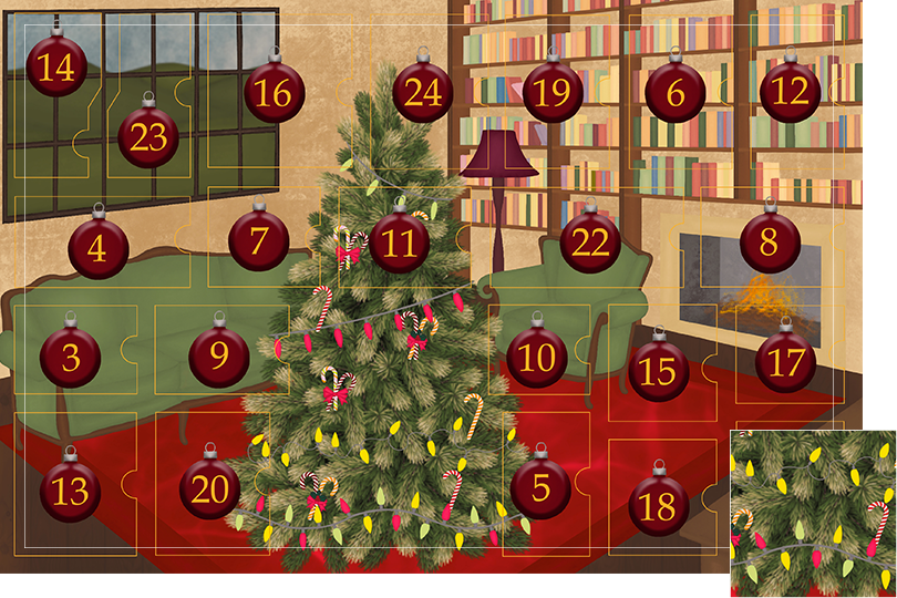 Drawing of a living room with brown wood flour, a red rug, big windows on the left and a chimney with shelves on the right wall with a big Christmas tree in the middle. All divided in 24 advent calendar sections. Section 2 is the drawing of fairy lights decorations on the Christmas tree.
