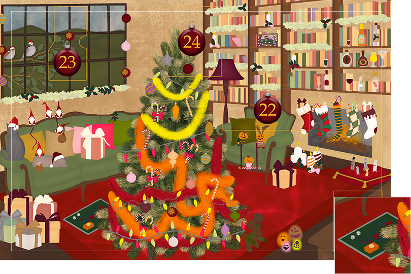 Drawing of a living room with brown wood flour, a red rug, big windows on the left and a chimney with shelves on the right wall with a big Christmas tree in the middle. All divided in 24 advent calendar sections. Section 20 is the drawing of boardgames, dices and cards on the floor.