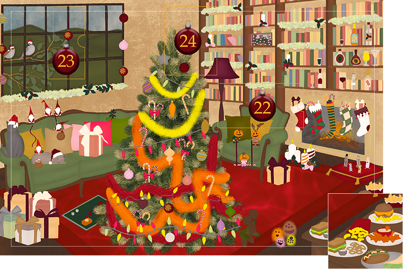 Drawing of a living room with brown wood flour, a red rug, big windows on the left and a chimney with shelves on the right wall with a big Christmas tree in the middle. All divided in 24 advent calendar sections. Section 21 is the drawing of sandwiches, French fries, crisps, calamaris, hot dogs and other amuse bouches.