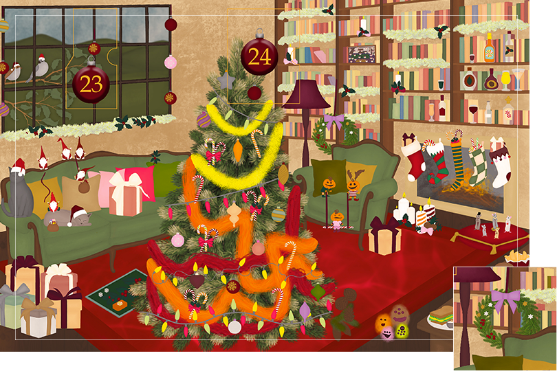 Drawing of a living room with brown wood flour, a red rug, big windows on the left and a chimney with shelves on the right wall with a big Christmas tree in the middle. All divided in 24 advent calendar sections. Section 22 is the drawing of a Christmas wreath behind the sofa on the shelf.