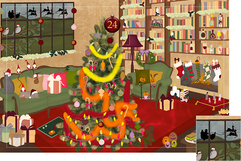 Drawing of a living room with brown wood flour, a red rug, big windows on the left and a chimney with shelves on the right wall with a big Christmas tree in the middle. All divided in 24 advent calendar sections. Section 23 is the drawing of the shadow of Father Christmas and the reindeers in the sky behind the window.