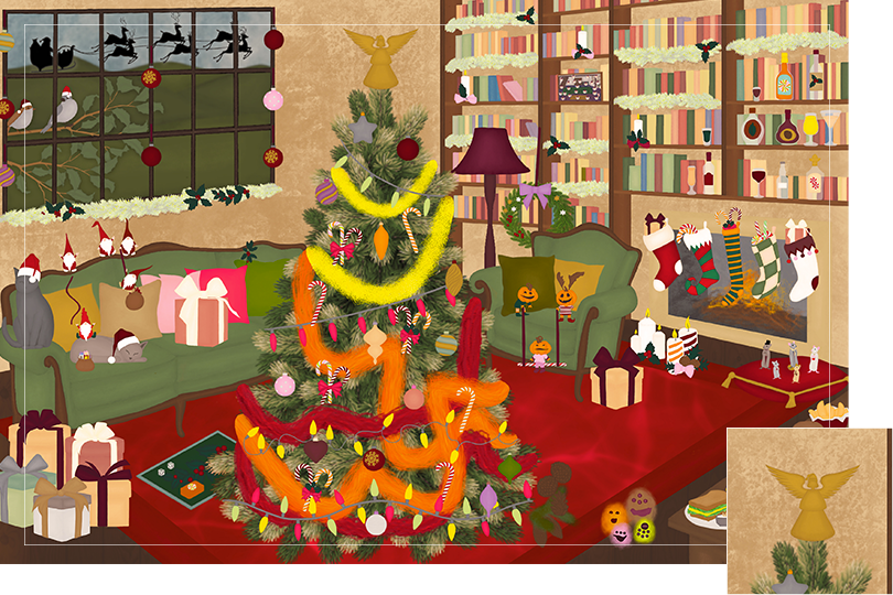 Drawing of a living room with brown wood flour, a red rug, big windows on the left and a chimney with shelves on the right wall with a big Christmas tree in the middle. All divided in 24 advent calendar sections. Section 24 is the drawing of a Christmas angel decoration placed on top of the tree.