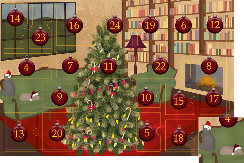 Drawing of a living room with brown wood flour, a red rug, big windows on the left and a chimney with shelves on the right wall with a big Christmas tree in the middle. All divided in 24 advent calendar sections. Section 3 is the drawing of cosy cats on the sofa with Christmas hats.