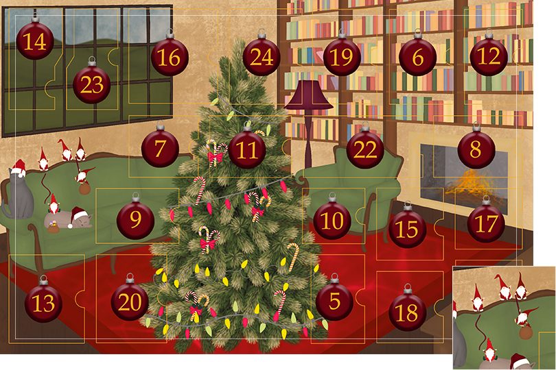 Drawing of a living room with brown wood flour, a red rug, big windows on the left and a chimney with shelves on the right wall with a big Christmas tree in the middle. All divided in 24 advent calendar sections. Section 4 is the drawing of little Santa Claus.