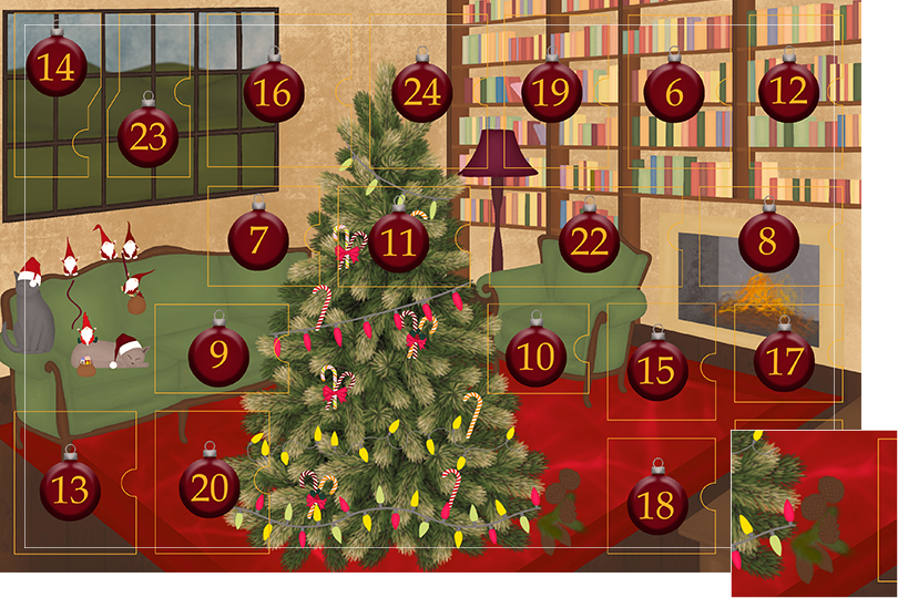 Drawing of a living room with brown wood flour, a red rug, big windows on the left and a chimney with shelves on the right wall with a big Christmas tree in the middle. All divided in 24 advent calendar sections. Section 5 is the drawing of pine cones on the floor.