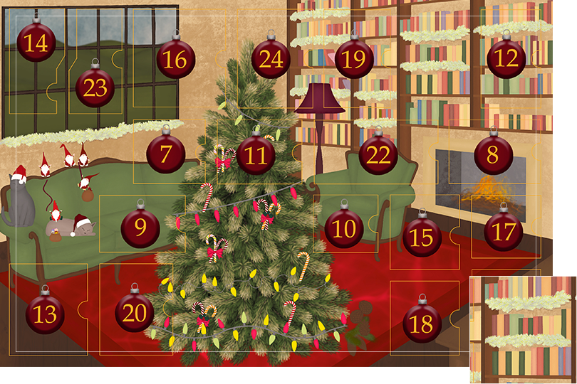 Drawing of a living room with brown wood flour, a red rug, big windows on the left and a chimney with shelves on the right wall with a big Christmas tree in the middle. All divided in 24 advent calendar sections. Section 6 is the drawing of holly garlands on the shelves and windows.