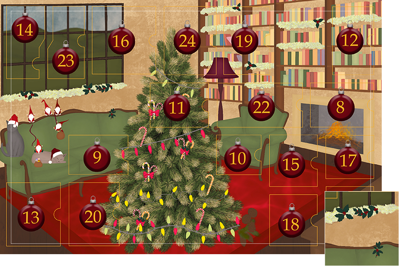 Drawing of a living room with brown wood flour, a red rug, big windows on the left and a chimney with shelves on the right wall with a big Christmas tree in the middle. All divided in 24 advent calendar sections. Section 7 is the drawing of natural holly on the garlands.