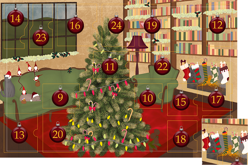 Drawing of a living room with brown wood flour, a red rug, big windows on the left and a chimney with shelves on the right wall with a big Christmas tree in the middle. All divided in 24 advent calendar sections. Section 8 is the drawing of five Christmas stockings filled with gifts and candy canes above the chimney.