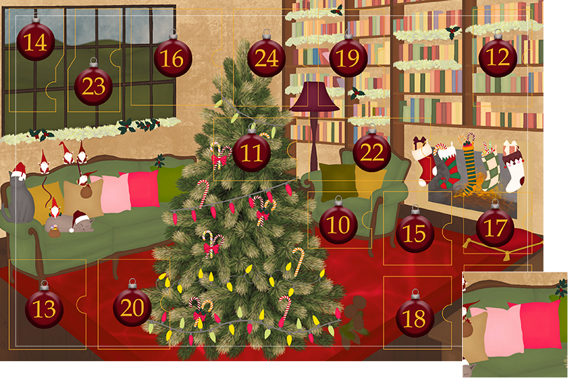 Drawing of a living room with brown wood flour, a red rug, big windows on the left and a chimney with shelves on the right wall with a big Christmas tree in the middle. All divided in 24 advent calendar sections. Section 9 is the drawing of colourful cushions on the sofa.