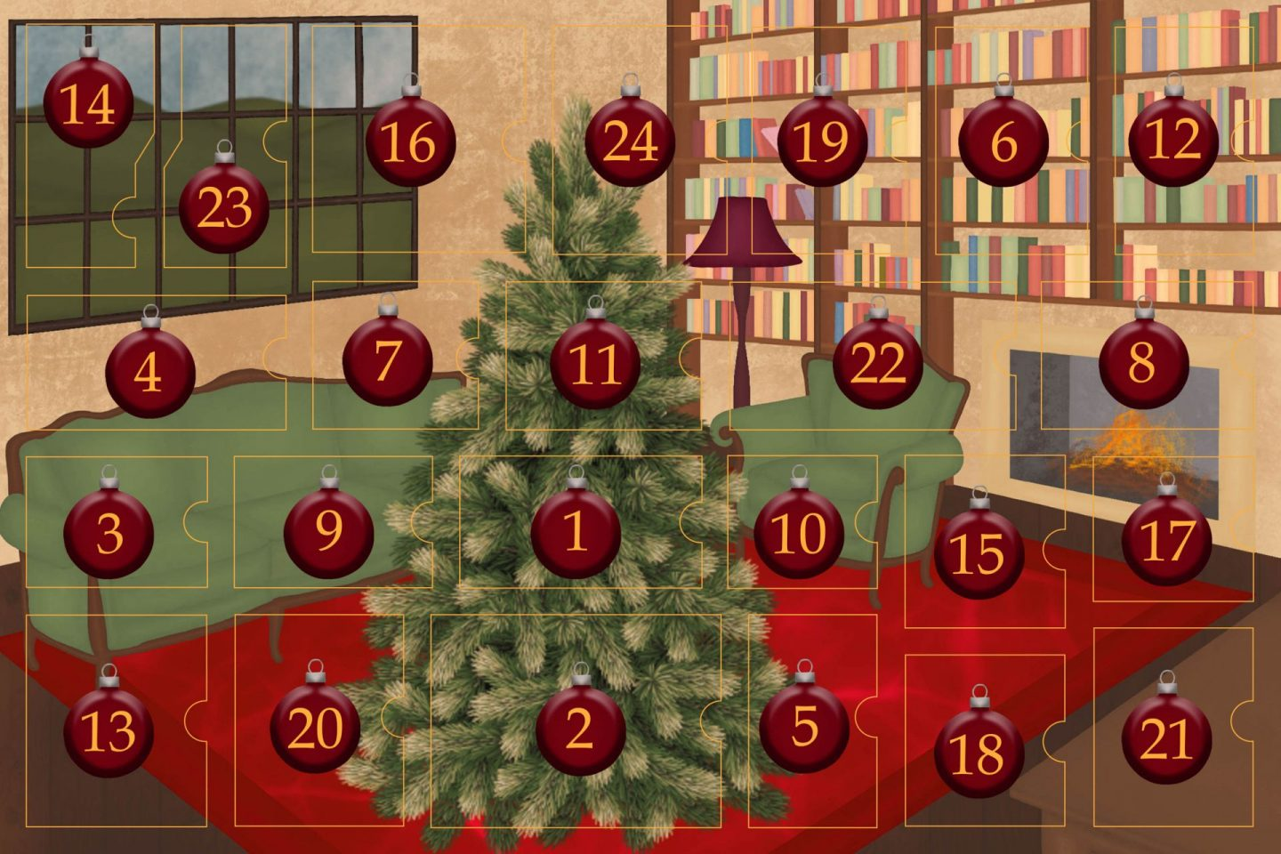 Drawing of a living room with brown wood flour, a red rug, big windows on the left and a chimney with shelves on the right wall with a big Christmas tree in the middle. All divided in 24 advent calendar sections.