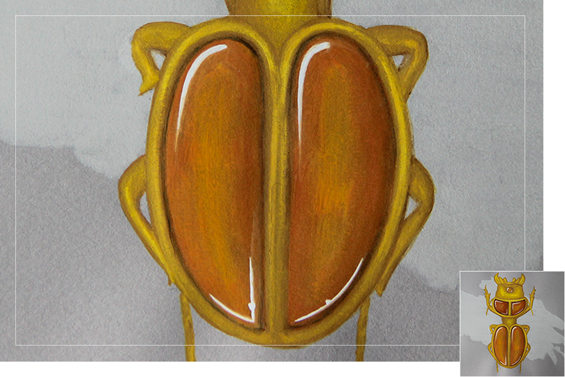 Amber beetle drawing jewelry details