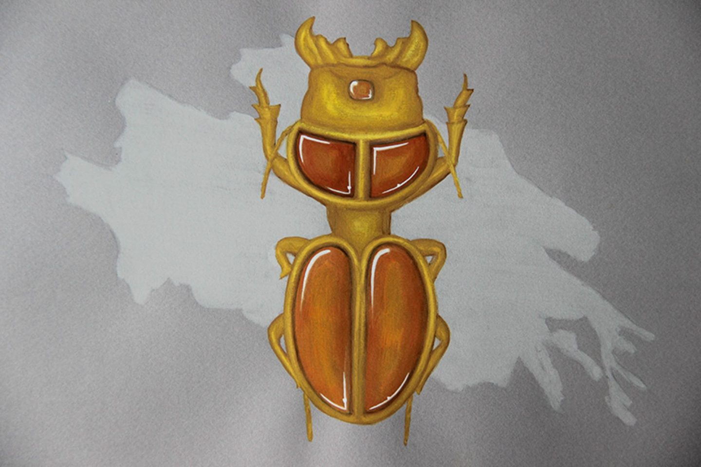 Amber beetle drawing jewelry