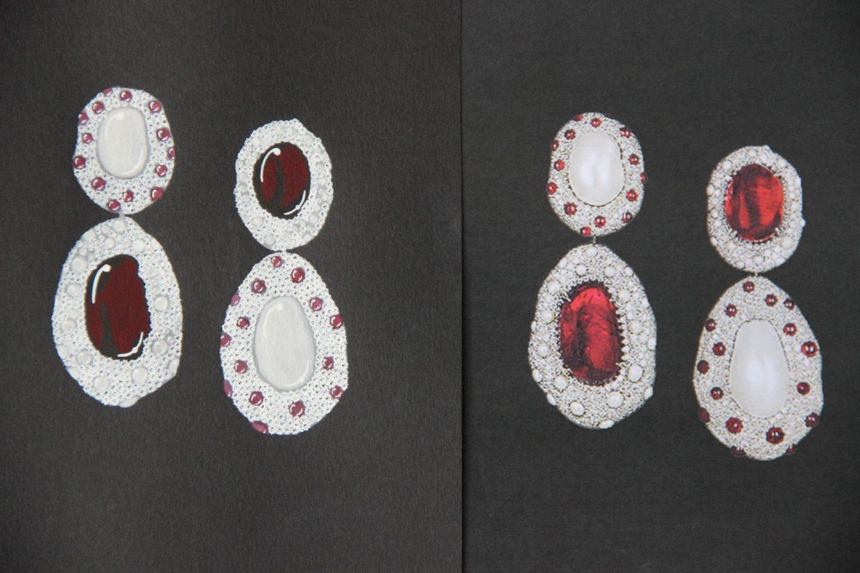 Shine & draw Jewelry drawing reproduction Bulgari seashell earrings