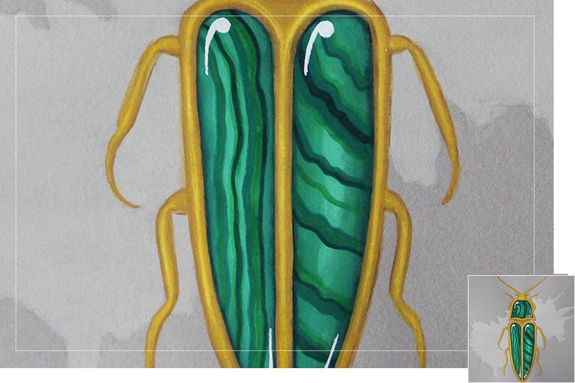 Undercovertoad malachite beetle drawing jewelry