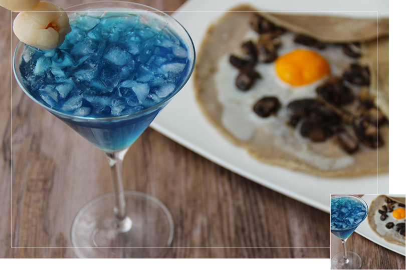 Chilling out cocktail and recipes wheat crepes and lotus martini cocktail