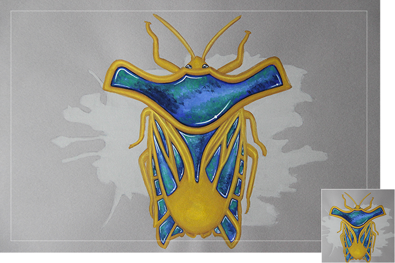 Undercovertoad azurite shield bug drawing jewelry