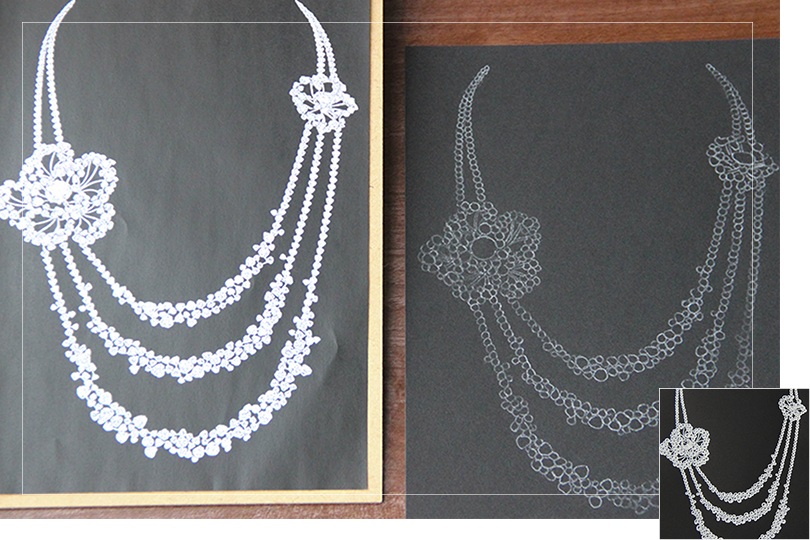 Shine & draw Jewelry drawing reproduction Channel necklace diamonds flowers undercovertoad