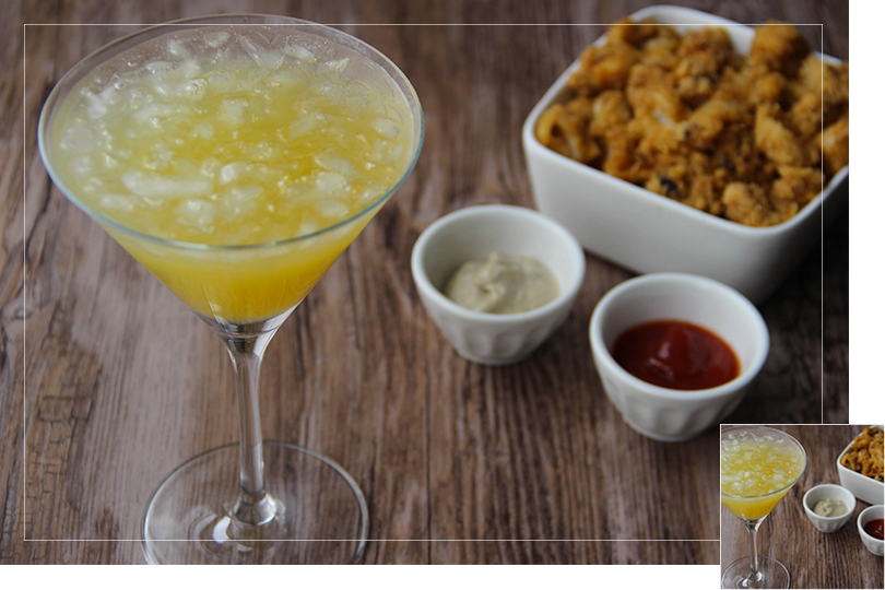 Chilling out cocktail and recipes Spicy fried cuttlefish and Derby Daiquiri cocktail