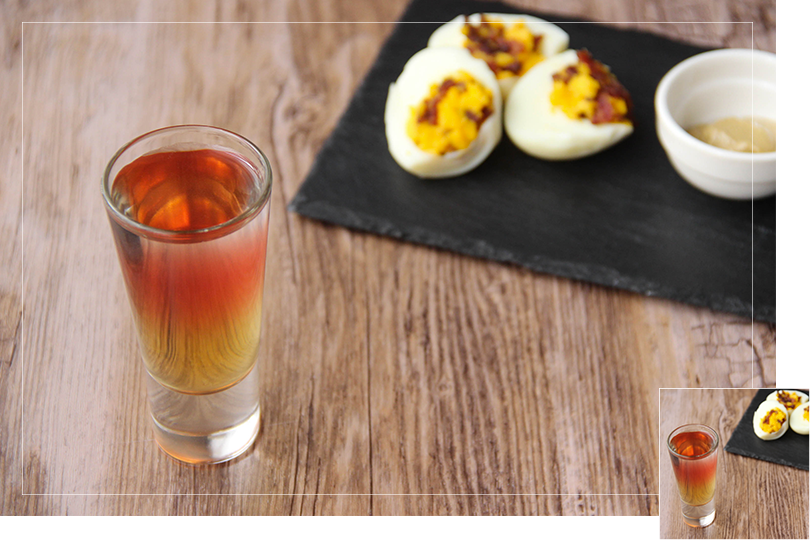 Chilling out cocktail and recipes Stuffed eggs and detox cocktail