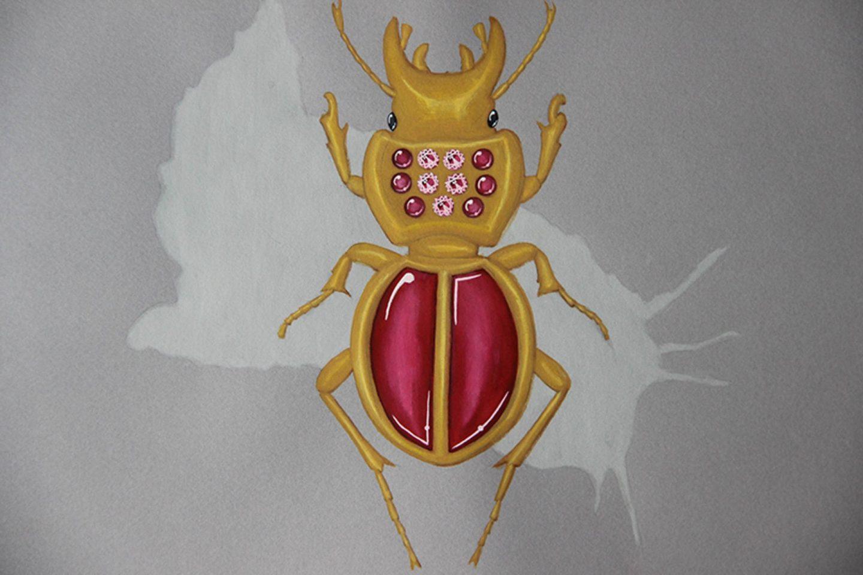Undercovertoad garnet beetle drawing jewelry