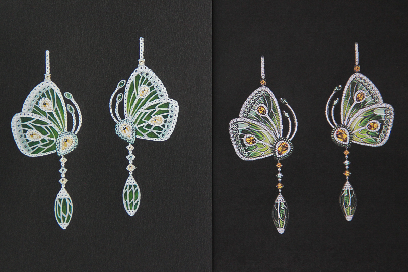 Shine & draw Jewelry drawing reproduction butterfly peridot earring undercovertoad