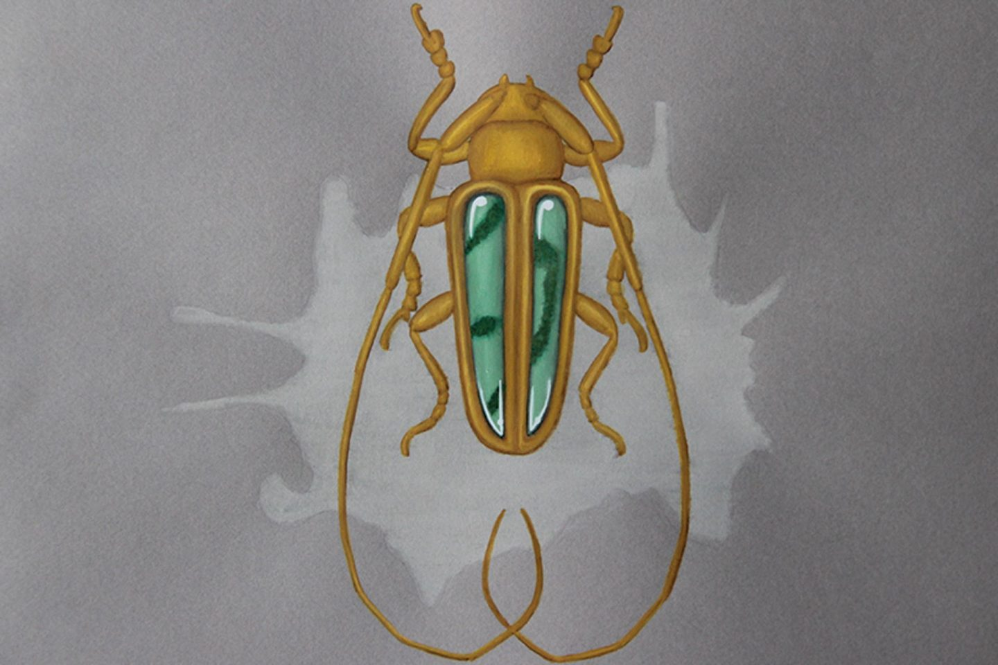 Undercovertoad chrysoprase chalcedony beetle drawing jewelry