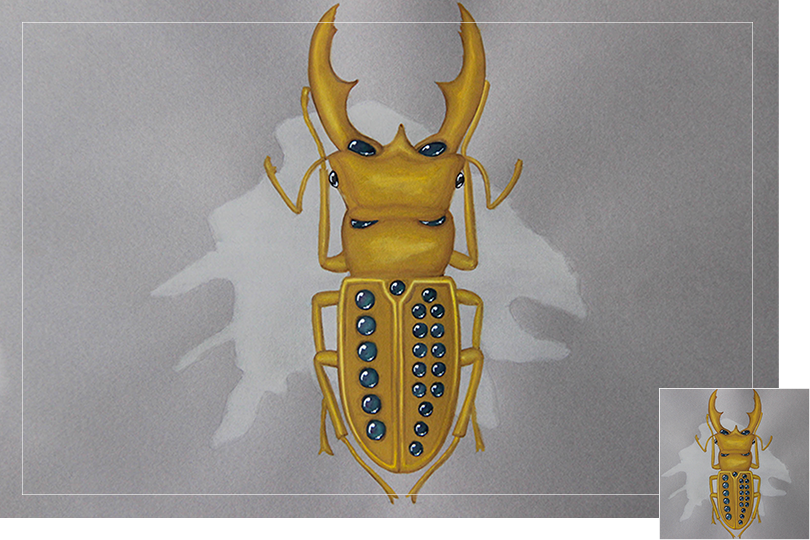 Undercovertoad grey mother of pearl beetle drawing jewelry