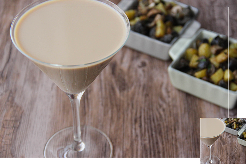Chilling out cocktail and recipes snails and potatoes sauté and Irish espressotini cocktail