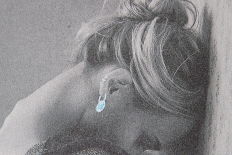 Shine & draw art jewelry aquamarine silver earrings