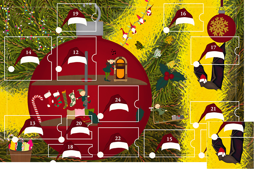 Drawing of zoomed in branches of a Christmas tree, home to a village of Christmas elves all ready to be discovered on this advent calendar. The drawing is divided in 24 advent calendar sections. Section 11 is the drawing of a giant bat next to the elf home, wearing a Christmas hat.