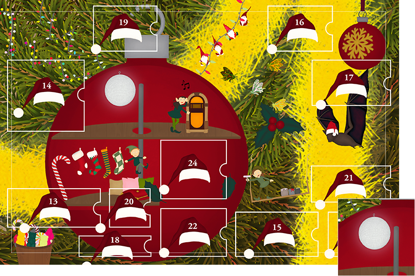 Drawing of zoomed in branches of a Christmas tree, home to a village of Christmas elves all ready to be discovered on this advent calendar. The drawing is divided in 24 advent calendar sections. Section 12 is the drawing of a disco ball right next to the dancing elf and the playing jukebox.