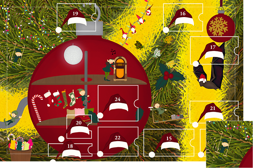 Drawing of zoomed in branches of a Christmas tree, home to a village of Christmas elves all ready to be discovered on this advent calendar. The drawing is divided in 24 advent calendar sections. Section 14 is the drawing of an elf swinging under the fairy light next to the bauble elfe house.