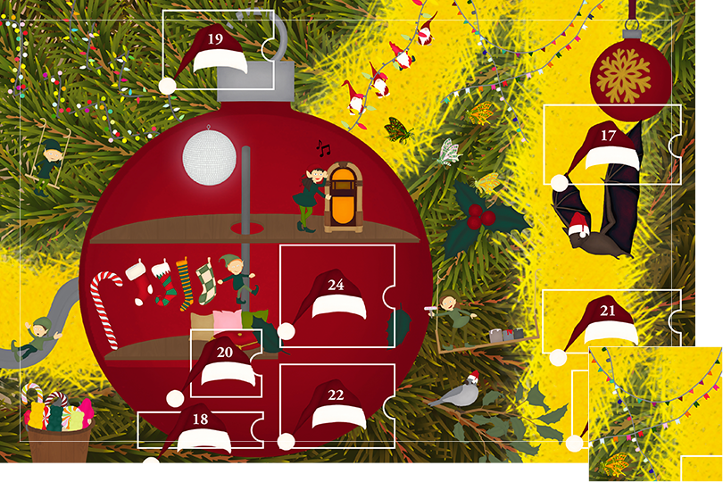 Drawing of zoomed in branches of a Christmas tree, home to a village of Christmas elves all ready to be discovered on this advent calendar. The drawing is divided in 24 advent calendar sections. Section 17 is the drawing of party club flags in the Christmas tree branches.