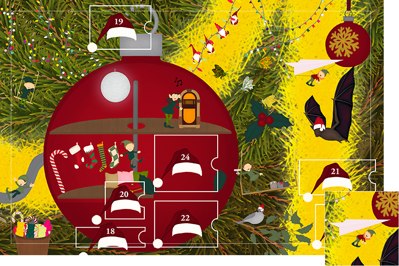 Drawing of zoomed in branches of a Christmas tree, home to a village of Christmas elves all ready to be discovered on this advent calendar. The drawing is divided in 24 advent calendar sections. Section 17 is the drawing of an elf hand-gliding next to the Christmas bat and red bauble gold snowflake decoration.