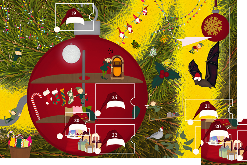 Drawing of zoomed in branches of a Christmas tree, home to a village of Christmas elves all ready to be discovered on this advent calendar. The drawing is divided in 24 advent calendar sections. Section 18 is the drawing of Christmas gifts wrapped in colourful Christmas wrapping papers.