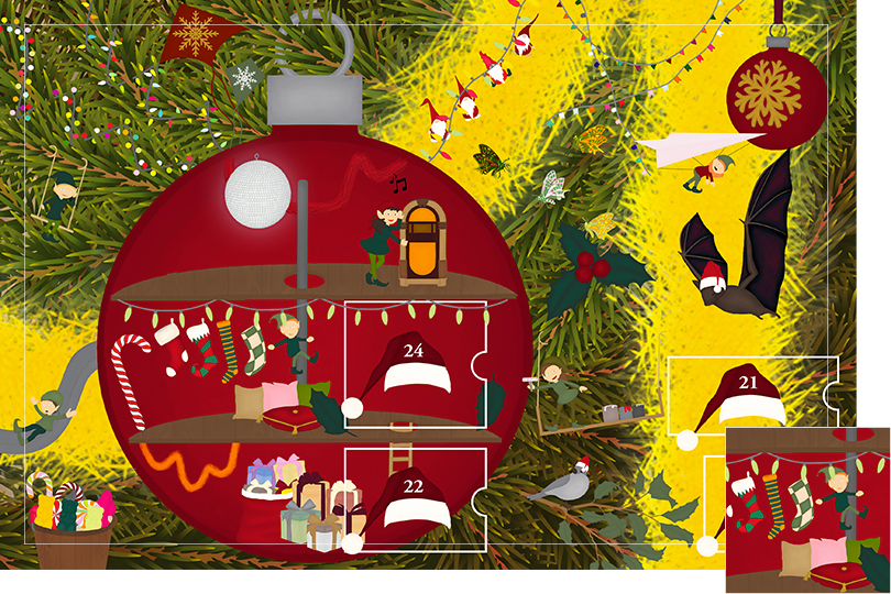 Drawing of zoomed in branches of a Christmas tree, home to a village of Christmas elves all ready to be discovered on this advent calendar. The drawing is divided in 24 advent calendar sections. Section 20 is the drawing of further Christmas decorations and fairy lights to adornate the elf house this time.