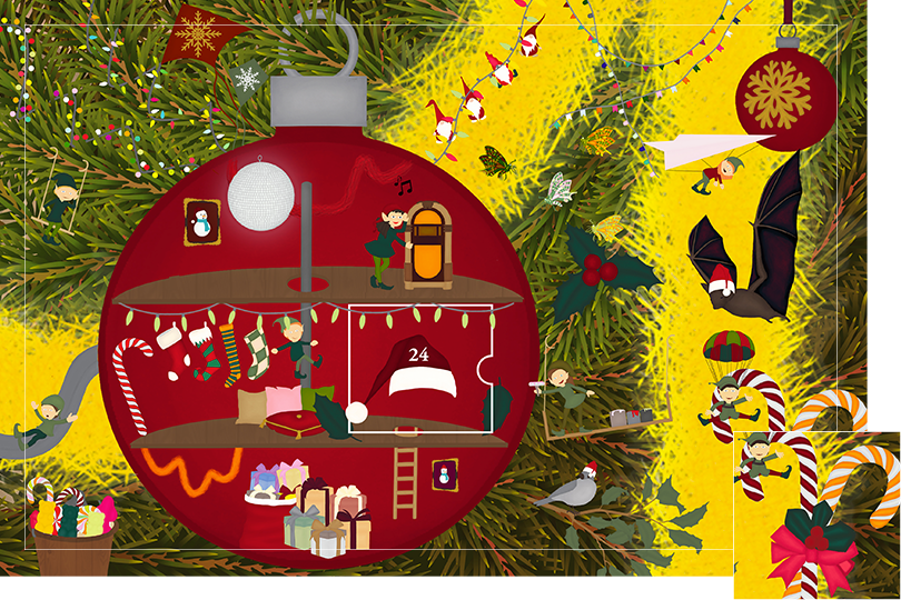 Drawing of zoomed in branches of a Christmas tree, home to a village of Christmas elves all ready to be discovered on this advent calendar. The drawing is divided in 24 advent calendar sections. Section 23 is the drawing of candy cane decorations on the Christmas tree.