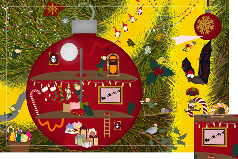 Drawing of zoomed in branches of a Christmas tree, home to a village of Christmas elves all ready to be discovered on this advent calendar. The drawing is divided in 24 advent calendar sections. Section 24 is the drawing of the shadow of Father Christmas and the reindeers on a tv or magical window in the elves house.