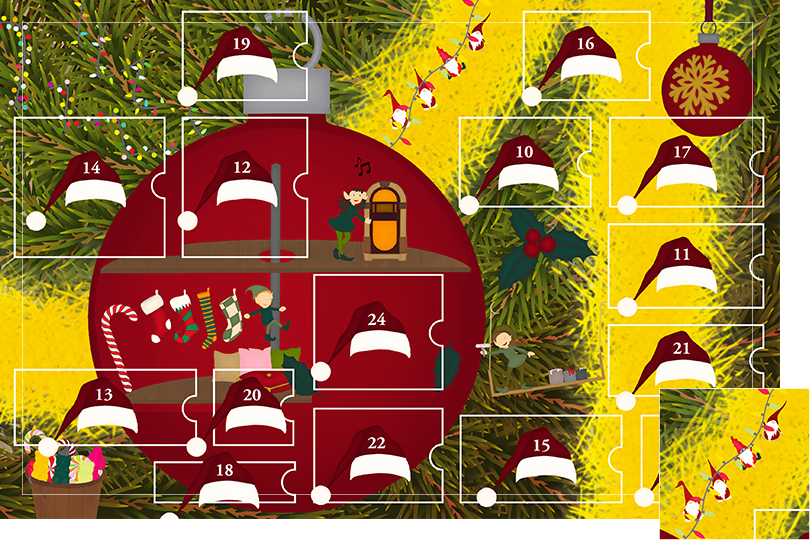 Drawing of zoomed in branches of a Christmas tree, home to a village of Christmas elves all ready to be discovered on this advent calendar. The drawing is divided in 24 advent calendar sections. Section 9 is the drawing of little Scandinavian gnomes hanging on a fairy light garland.