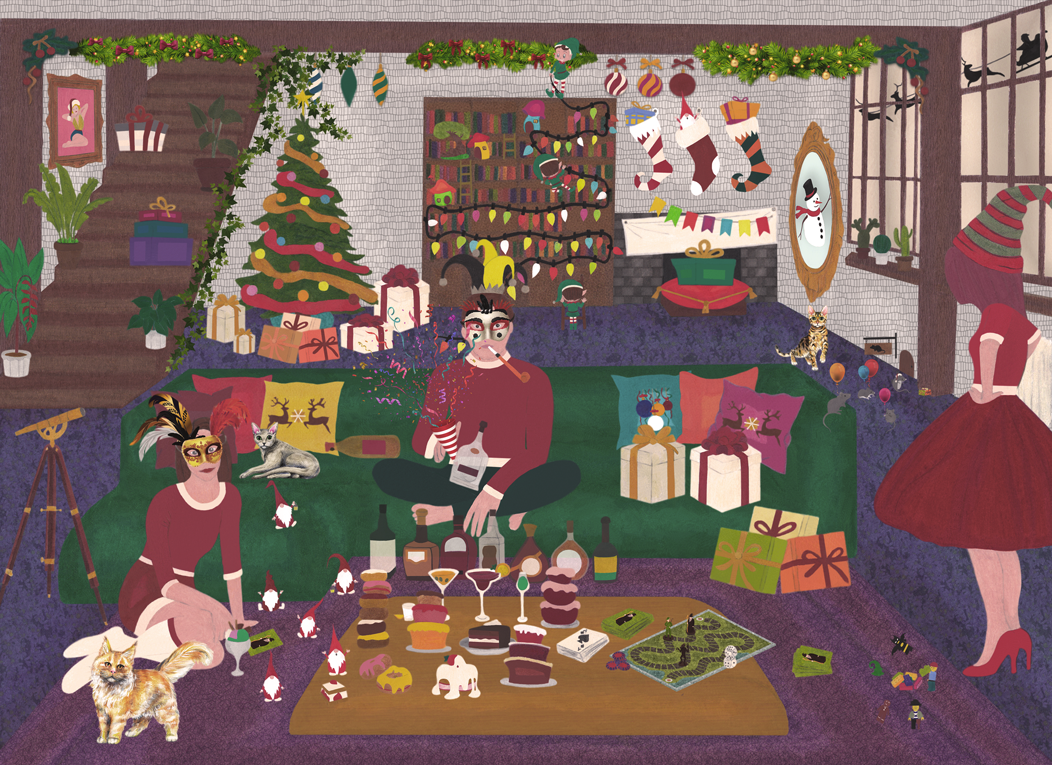 Drawing of a living room with a dark blue carpet, a purple rug, a dark green sofa, grey stone walls and visible dark wood beams. All divided in 24 advent calendar sections.