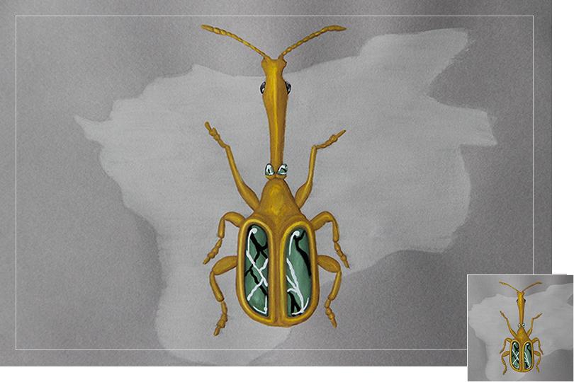 Undercovertoad serpenting longhorn beetle drawing jewelry